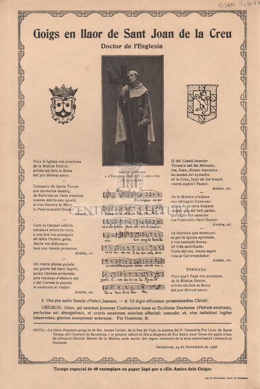 Goigs en llaor de Sant Joan de la Creu, Doctor de l'Esglesia
