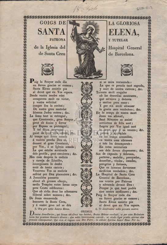 Goigs de la gloriosa Santa Elena, patrona y tutelar de la Iglesia del Hospital General de Santa Creu de Barcelona.