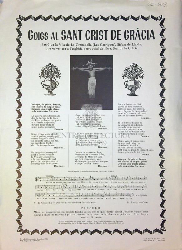 Goigs al Sant Crist de Gràcia patró de la Vila de la Granadella (Les Garrigues), Bisbat de Lleida, que es venera a l'església parroquial de Ntra. Senyora de la Gràcia