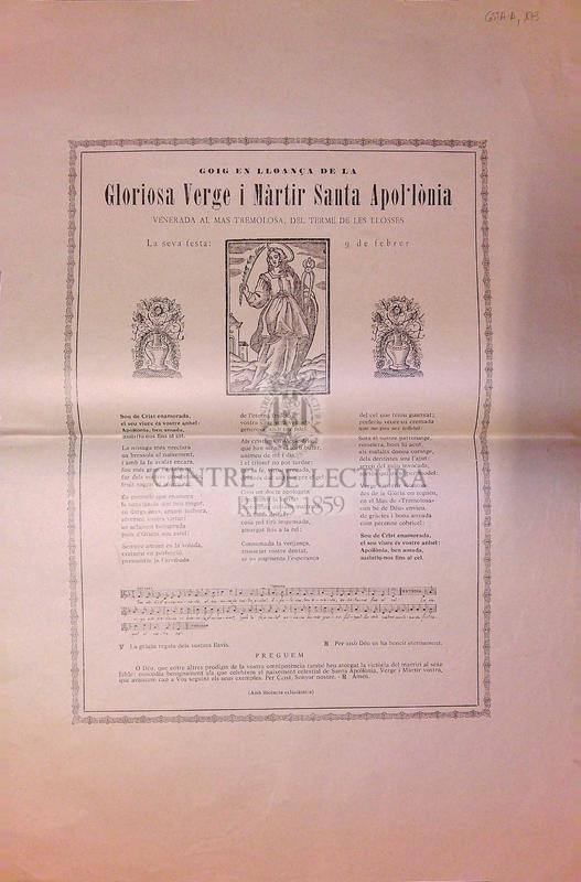 Goig en lloança de la Gloriosa Verge i Màrtir Santa Apol·lònia venerada al Mas Tremolosa, del terme de les Llosses. La seva festa: 9 de febrer