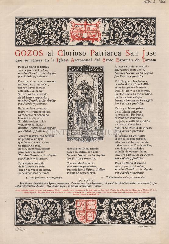 Gozos al Glorioso Patriarca San José que se venera en la Iglesia Arciprestal del Santo Espíritu de Tarrassa