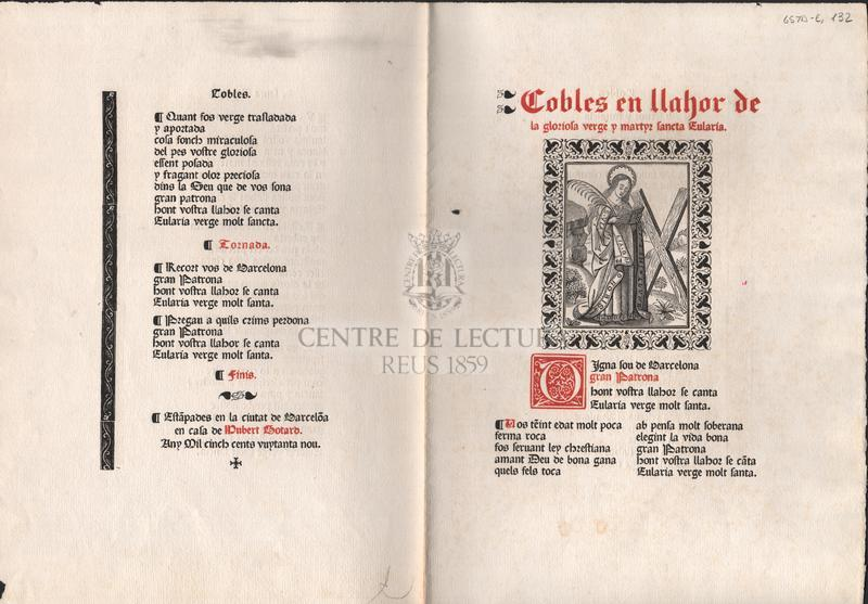 Cobles en llahor de la gloriosa y martyr Santa Eularia.