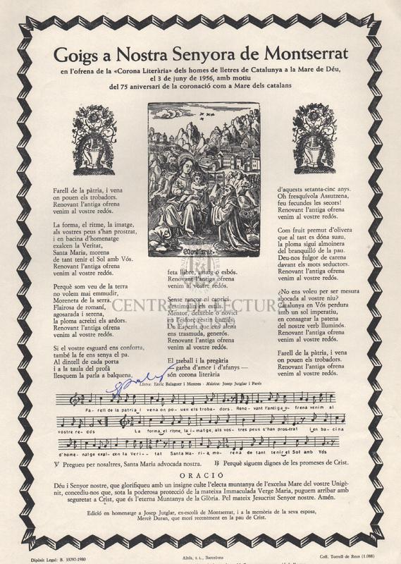 Goigs a Nostra Senyora de Montserrat en l'ofrena de la Corona Literària dels homes de lletres de Catalunya a la Mare de Déu, el 3 de juny de 1956, amb motiu del 75 aniversari de la coronació com a Mare dels catalans.