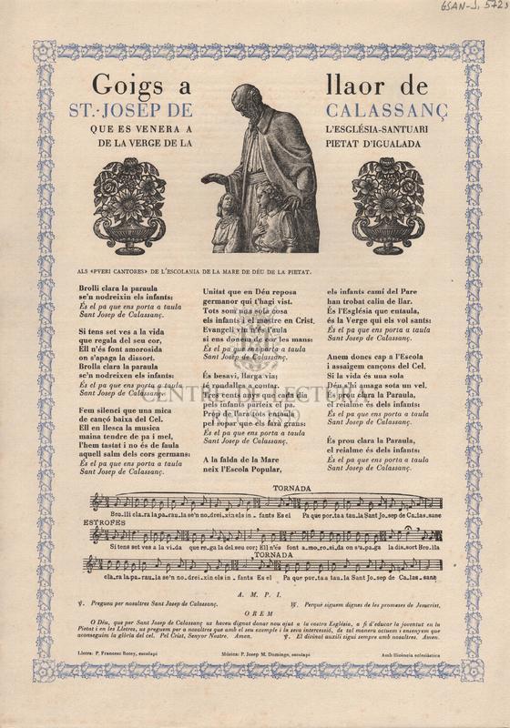 Goigs a llaor de St. Josep de Calassanç que es venera a l'Església-Santuari de la Verge de la Pietat d'Igualada