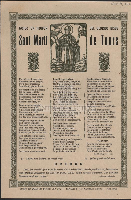 Goigs en honor del glorios Bisbe Sant Martí de Tours