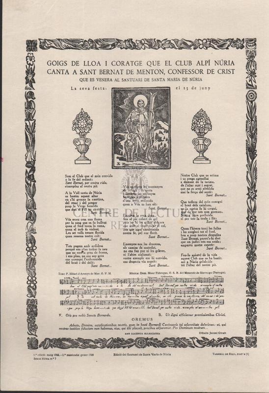 Goigs de lloa i coratge que el club alpí Núria canta a Sant Bernat de Menton, confessor de Crist. Que es venera al Santuari de Santa Maria de Núria. La seva festa: el 15 de Juny