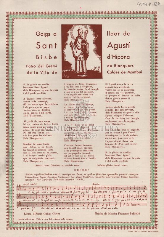 Goigs a llaor de Sant Agustí Bisbe d'Hipona Patró del Gremi de Blanquers de la Vila de Caldes de Montbui