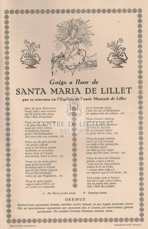 Goigs a llaor de Santa Maria de Lillet que es venera en l'Església de l'antic Monestir de Lillet.
