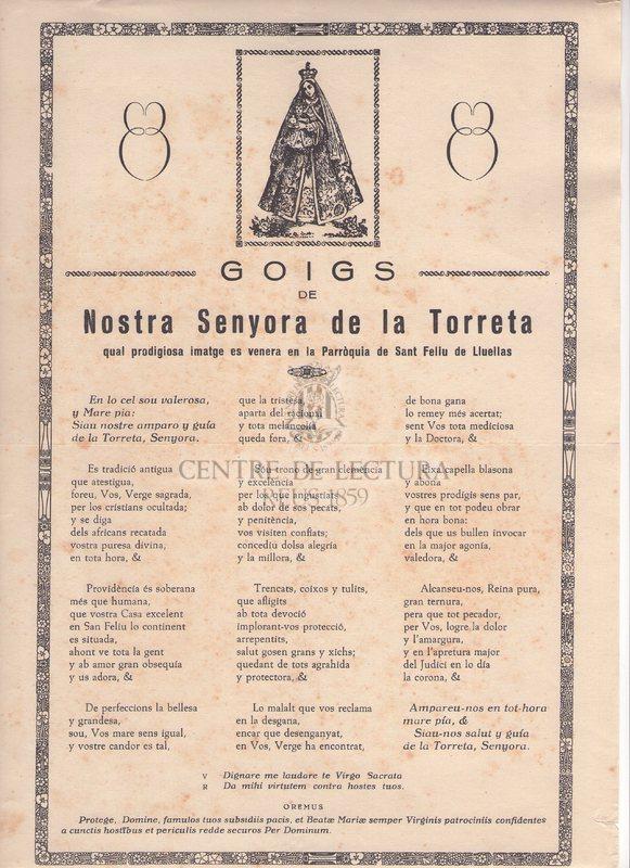 Goigs de Nostra Senyora de la Torreta qual prodigiosa imatge es venera en la Parròquia de Sant Feliu de Lluelas