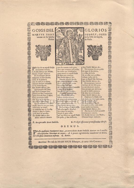 Goigs del glorios martyr Sant Eudalt, ques cantan en la Iglesia de la vila de Ripoll, Bisbàt de Vich