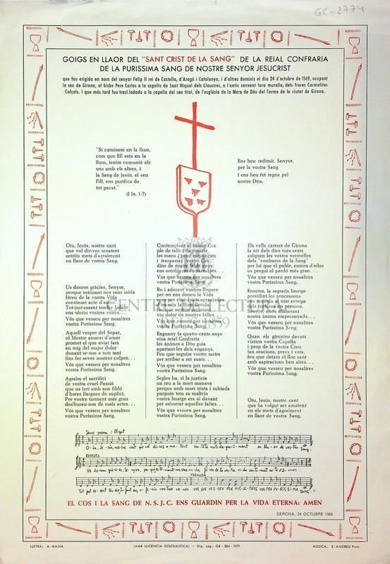 """Goigs en llaor del """"Sant Crist de la Sang"""" de la reial confraria de la purissima sang de nostre senyor Jesucrist"""