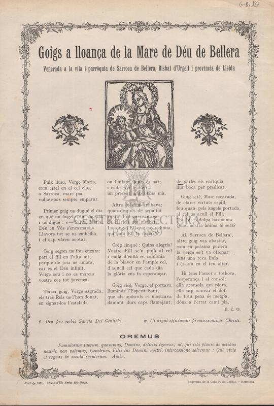 Goigs a lloança de la Mare de Déu de Bellera, venerada a la vila i parròquia de Sarroca de Bellera, Bisbat d'Urgell i província de Lleida