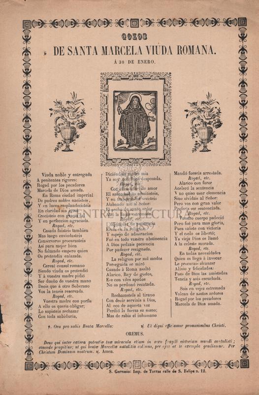 Gozos de santa Marcela viuda romana, á 30 de enero