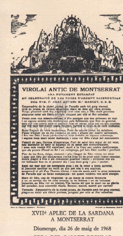 Virolai antic de Montserrat ara novament estampat en celebració de les noces d'argent sacerdotals del Rvm. P. Abat Antoni M. Marcet O. S. B.