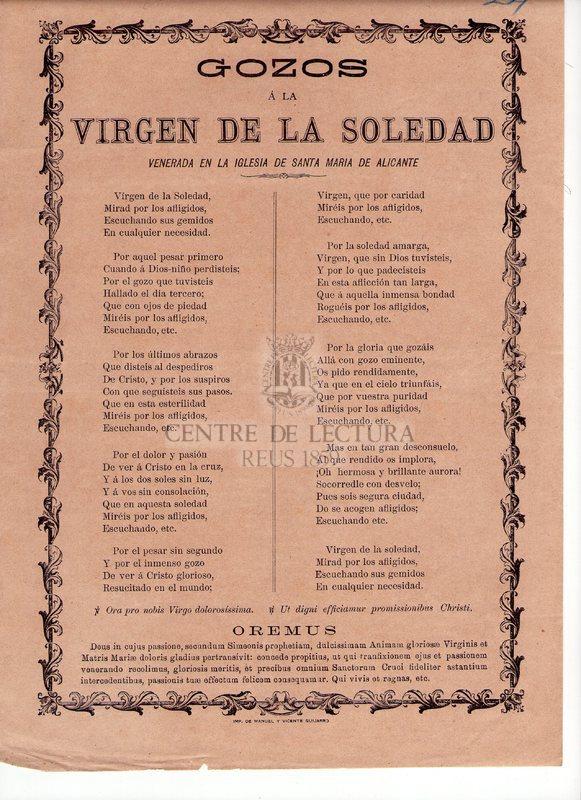 Gozos á la Virgen de la Soledad