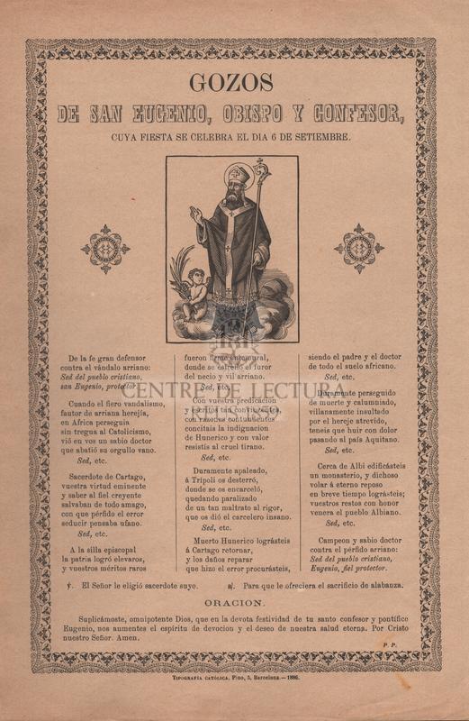 Gozos de San Eugenio, obispo y confesor, cuya fiesta se celebra el dia 6 de setiembre