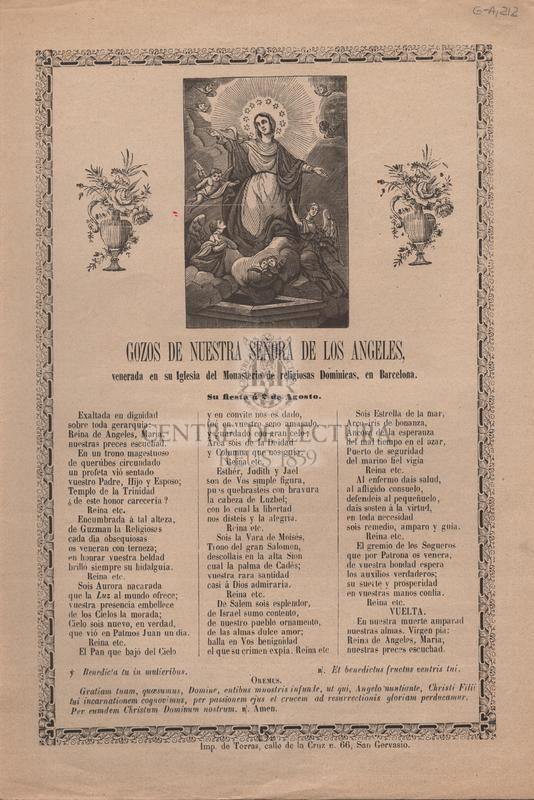 Gozos de Nuestra Señora de los Angeles venerada en su Iglesia del Monasterio de religiosas Dominicas, en Barcelona