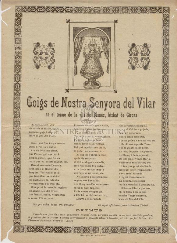 Goigs de Nostra Senyora  del Vilar en el terme  de la Vila de Blanes, bisbat de Girona