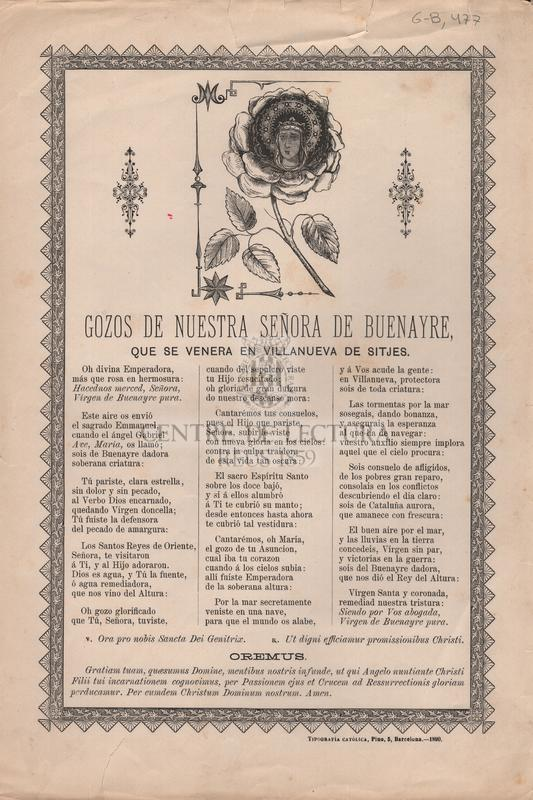 Gozos de nuestra señora de Buenayre que se venera en Villanueva de Sitges
