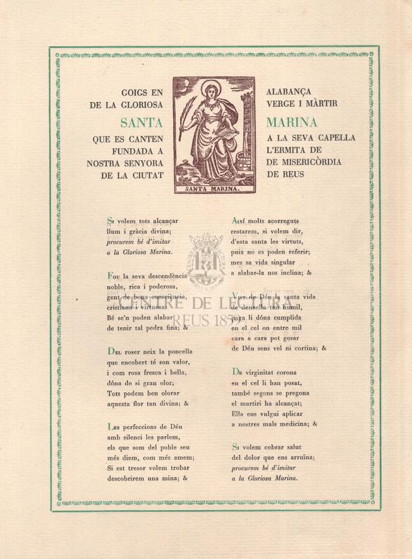 Goigs en alabança de la gloriosa verge i màrtir Santa Marina que es canten a la seva capella fundada a l'ermita de Nostra Senyora de Misericòrdia de la ciutat de Reus.