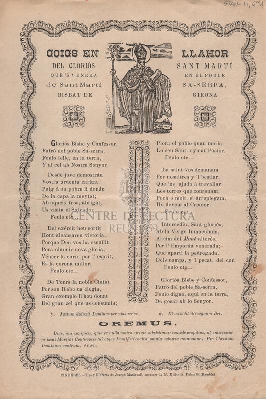 Goigs en llahor del gloriós Sant Martí que's venera en el poble de Sant Martí Sa-Serra, Bisbat de Girona