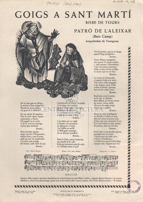 Goigs a sant Martí bisbe de Tours patró de l'Aleixar (Baix Camp) Arquebisbat de Tarragona.