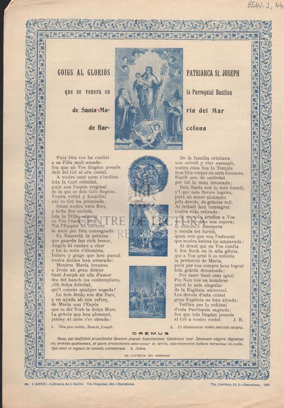 Goigs al gloriós Patriarca St Joseph que se venera en la parroquial basílica de Santa María del Mar de Barcelona