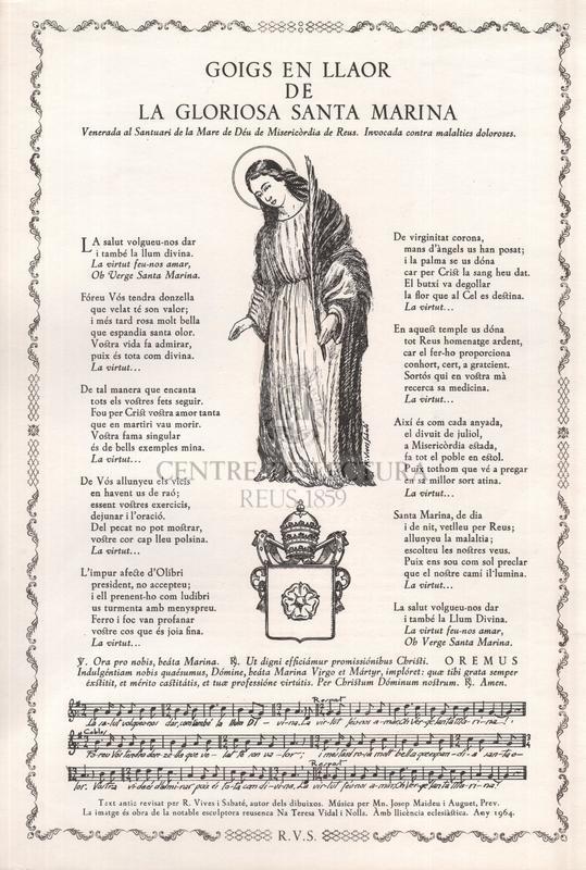 Goigs en llaor de la gloriosa Santa Marina, venerada al Santuari de la Mare de Déu de Misericòrdia de Reus. Invocada contra malalties doloroses