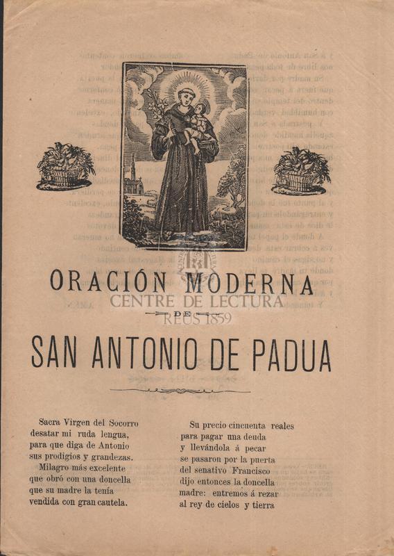 Oración de la gloriosa virgen y martir Santa Quiteria abogada contra el mal de rabia ; Oración moderna de San Antonio de Padua