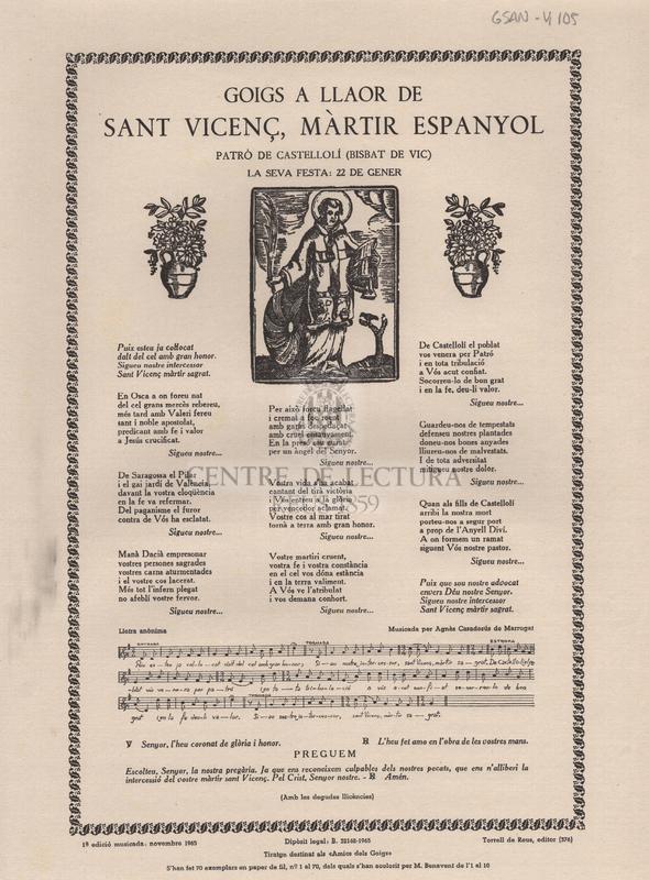 Goigs a llaor de Sant Vicenç, màrtir espanyol patró de Castellolí (Bisbat de Vic). La seva festa: 22 de gener.