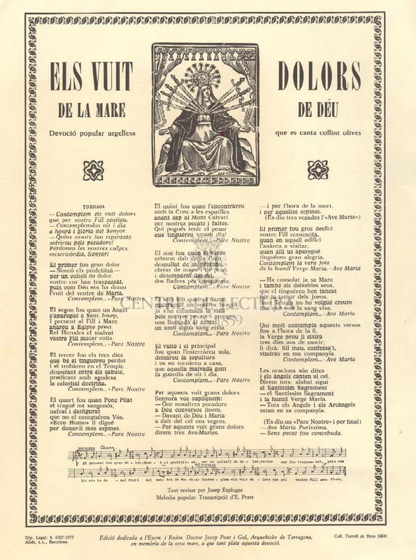 Els vuit dolors de la Mare de Déu, Devoció popular urgellesa que es canta collint olives
