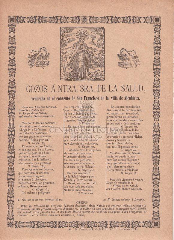 Gozos á Ntra. Sra. de la Salud, venerada en el convento de San Francisco de la villa de Alcañicos