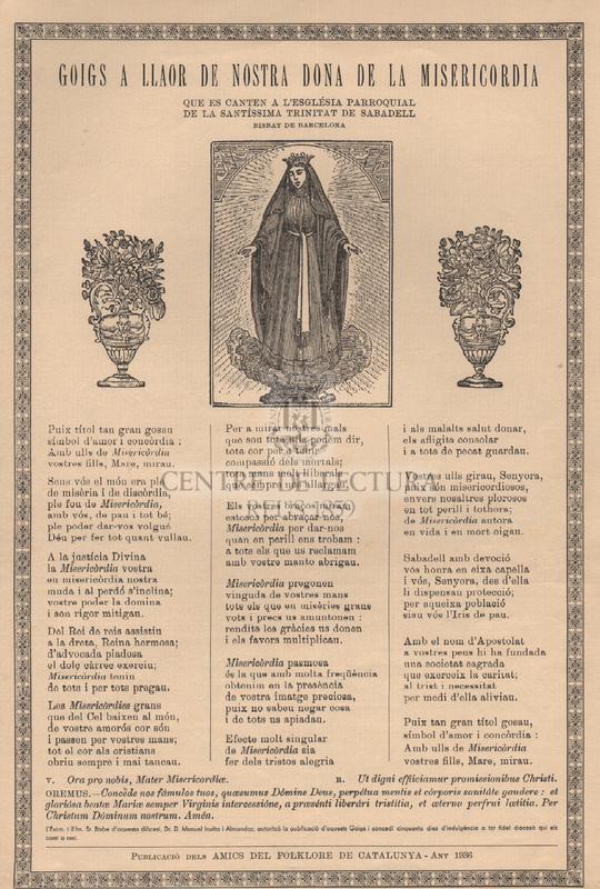 Goigs a llaor de Nostra Dona de la Misericordia que es canten a l'església parroquial de la Santíssima Trinitat de Sabadell, Bisbat de Barcelona