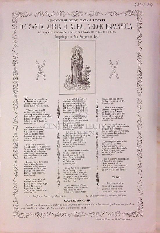 Goigs en llahor de Santa Auria ó Aura, verge espanyola, de la que lo martirologi romá 'n fá memoria en lo dia 11 de mars