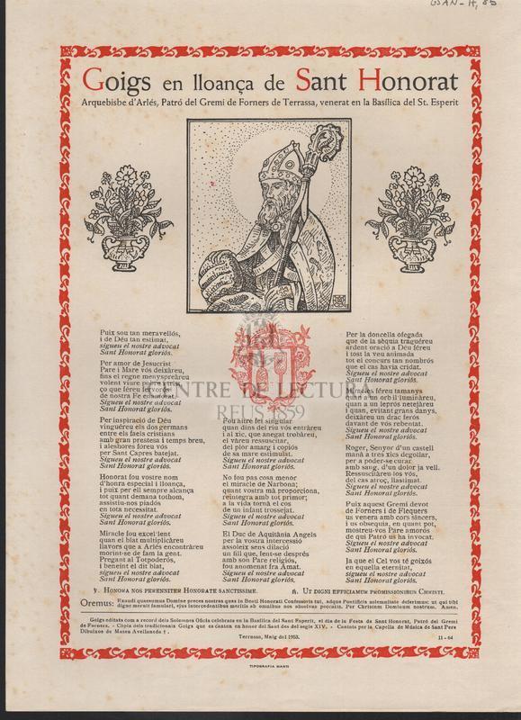 Goigs en lloança de Sant Honorat. Arquebisbe d'Arlés, Patró del Gremi de Forners de Terrassa, venerat en la Basílica del St. Esperit