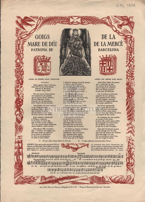 Goigs de la Mare de Déu de la Mercè patrona de Barcelona
