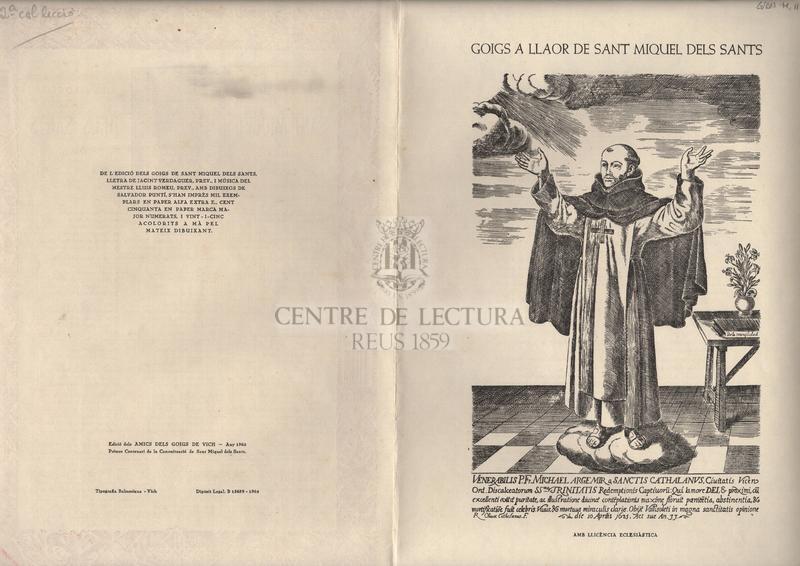 Goigs en llaor del gloriós Sant Miquel dels Sants fill i patró de la ciutat de Vich