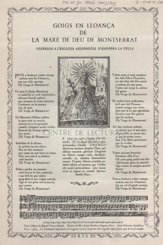 Goigs en lloança de la Mare de Deu de Montserrat venerada a l'esglesia arxiprestal d'Andorra la Vella.