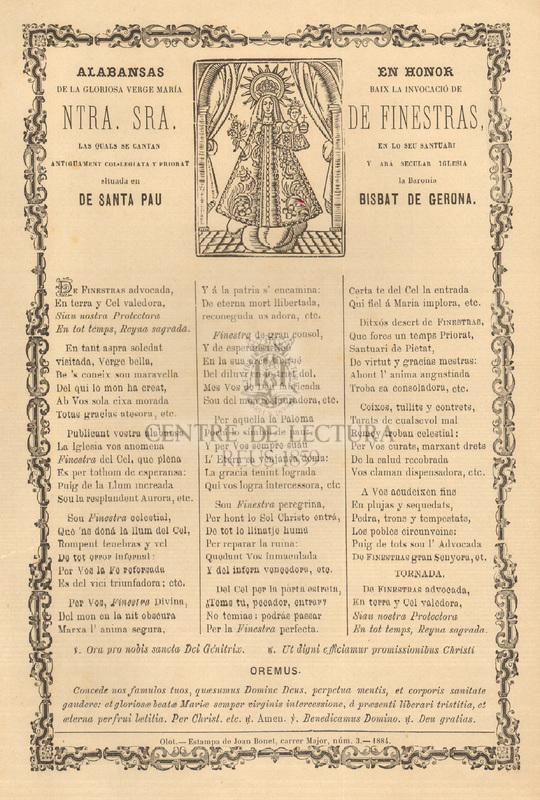 Alabansas en honor de la gloriosa Verge María baix la invocació de Ntra. Sra. de Finestras, las quals se cantan en lo seu santuari antiguament col·legiata y priorat y ara secular iglesia situada en la Baronía de Santa Pau, Bisbat de Gerona