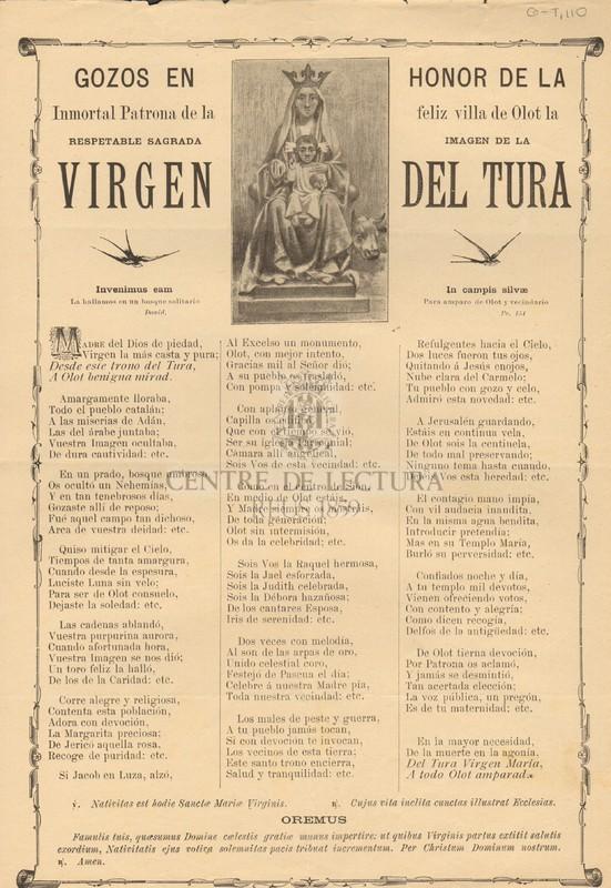 Gozos en honor de la Inmortal Patrona de la feliz villa de Olot la respetable Sagrada imagen de la Virgen del Tura