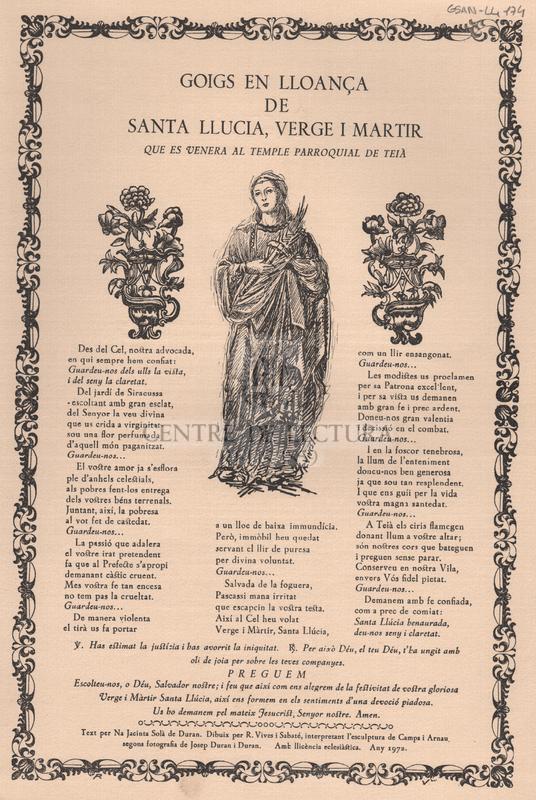 Goigs en lloança de Santa Llucia, Verge i Martir que es venera al temple parroquial de Teià.