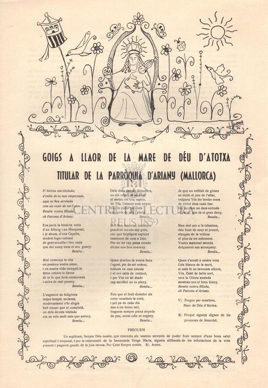 Goigs a llaor de la Mare de Déu d'Atotxa titular de la Parròquia d'Ariany (Mallorca)