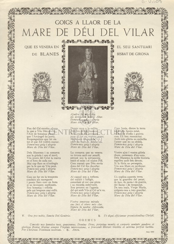 Goigs a llaor de la Mare de Déu del Vilar que es venera en el seu Santuari de Blanes, Bisbat de Girona
