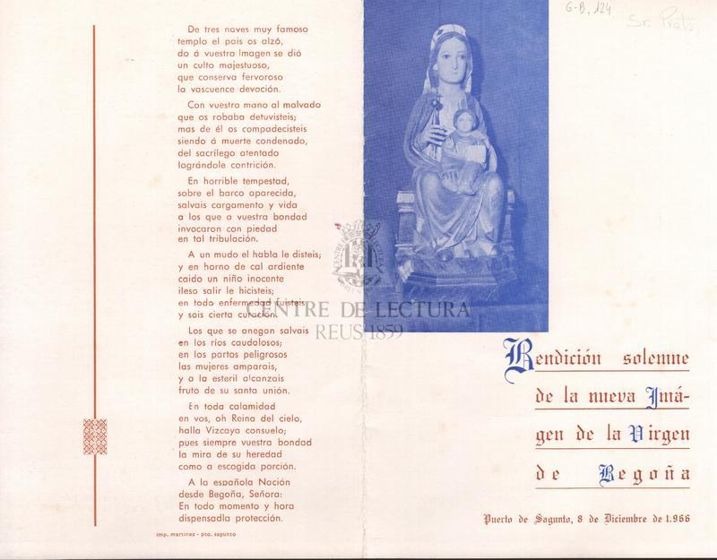 Bendición solemne de la nueva imágen de la Virgen de Begoña