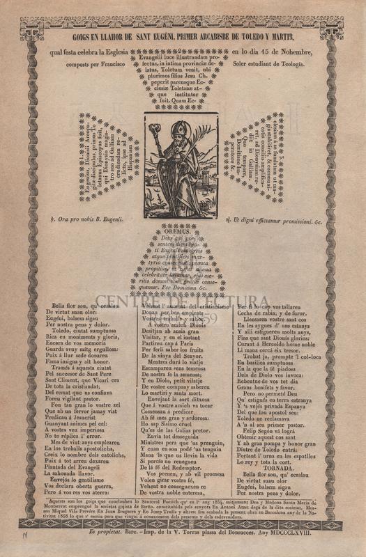 Goigs en llahor de Sant Eugéni, primer arcabisbe de Toledo y martir qual festa celebra la Esglesia en lo dia 15 de nohembre