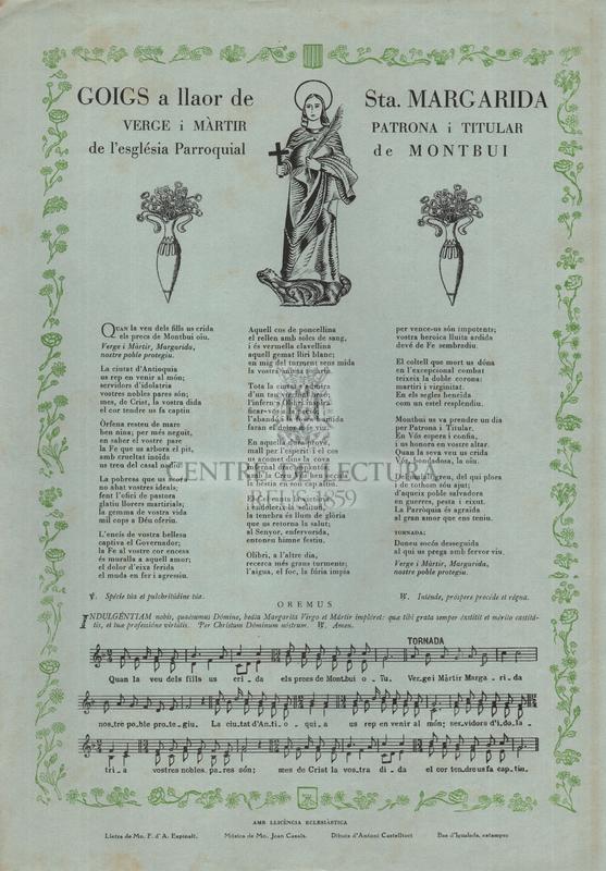Goigs a llaor de Sta. Margarida verge i màrtir, patrona i tituñar de l'església Parroquial de Montbui