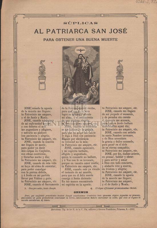 Súplicas al Patriarca San José para obtener una buena muerte