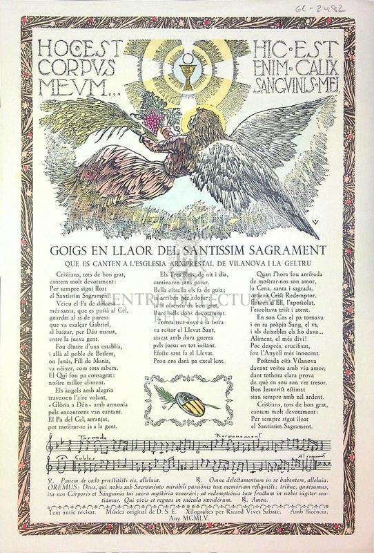 Goigs en llaor del santissim sagrament que es canten a l'esglesia arxiprestal de Vilanova i la Geltrú