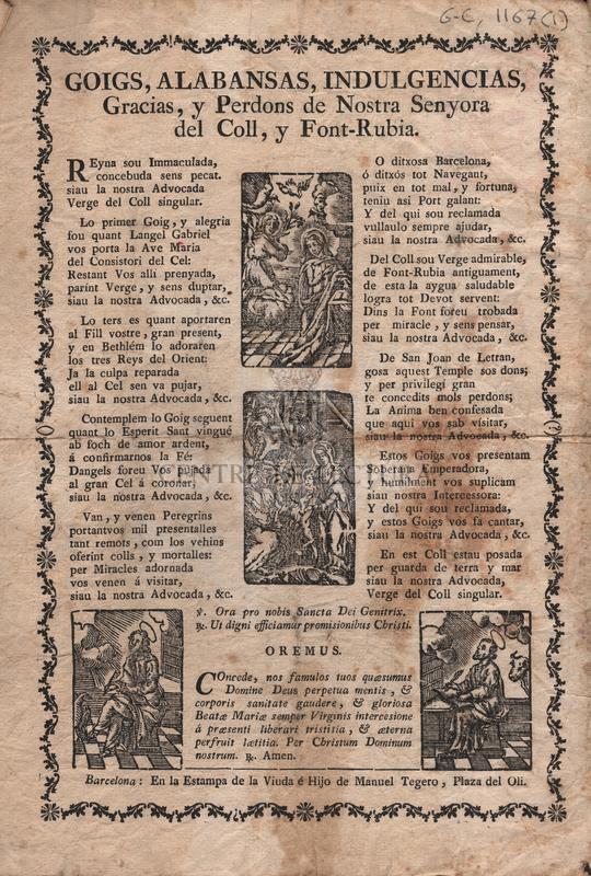 Goigs, Alabansas, Indulgencias, Gracias, y Perdons de Nostra Senyora del Coll, y Font-Rubia