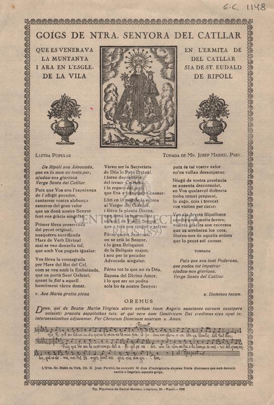 Goigs de Ntra. Senyora del Catllar que es venerava en l'Ermita de la muntanya del Catllar de la vila de Ripoll